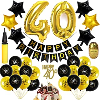 40th Anniversary Decorations - Happy birthday Banner Forty Sign Latex Balloon (balck and gold) 32 inch