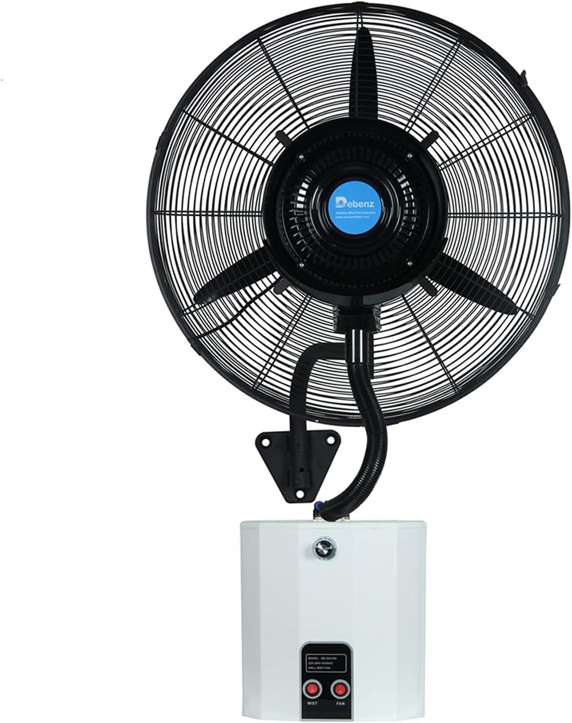 Gmjay Ventilador Montado en la Pared, Ventilador de Pulverización Colgante, Humidificación de Atomización de Temperatura Fría de Pared con Tanque de Agua, Ventilador de Cabeza Agitadora