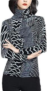 Agana Women's Slim Fit Print Blouse Long Sleeve Turtleneck T-shirts