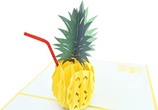PopLife Pineapple Cocktail 3D Pop Up Greeting Card for All Occasions - Mother's Day Card, Tropical Vacation, Summer Party - Folds Flat for Mailing - Birthday, Get Well, Bon Voyage, Graduation