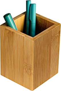 MaxGear Wood Pen Holder Desk Pencil Holders Wooden Pen and Pencil Organizer Cup for Desktop Pens Stand Holder Cups, 3.13 x 3.13 x 4.33 inches, Bamboo, Brown