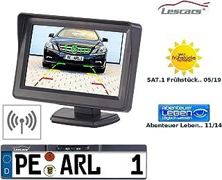 Lescars Funk Rückfahrkamera: Funk Rückfahr Kamera im Nummernschild Halter mit 10,9 cm TFT Monitor (Funk Rückfahrkamera Komplettsystem)