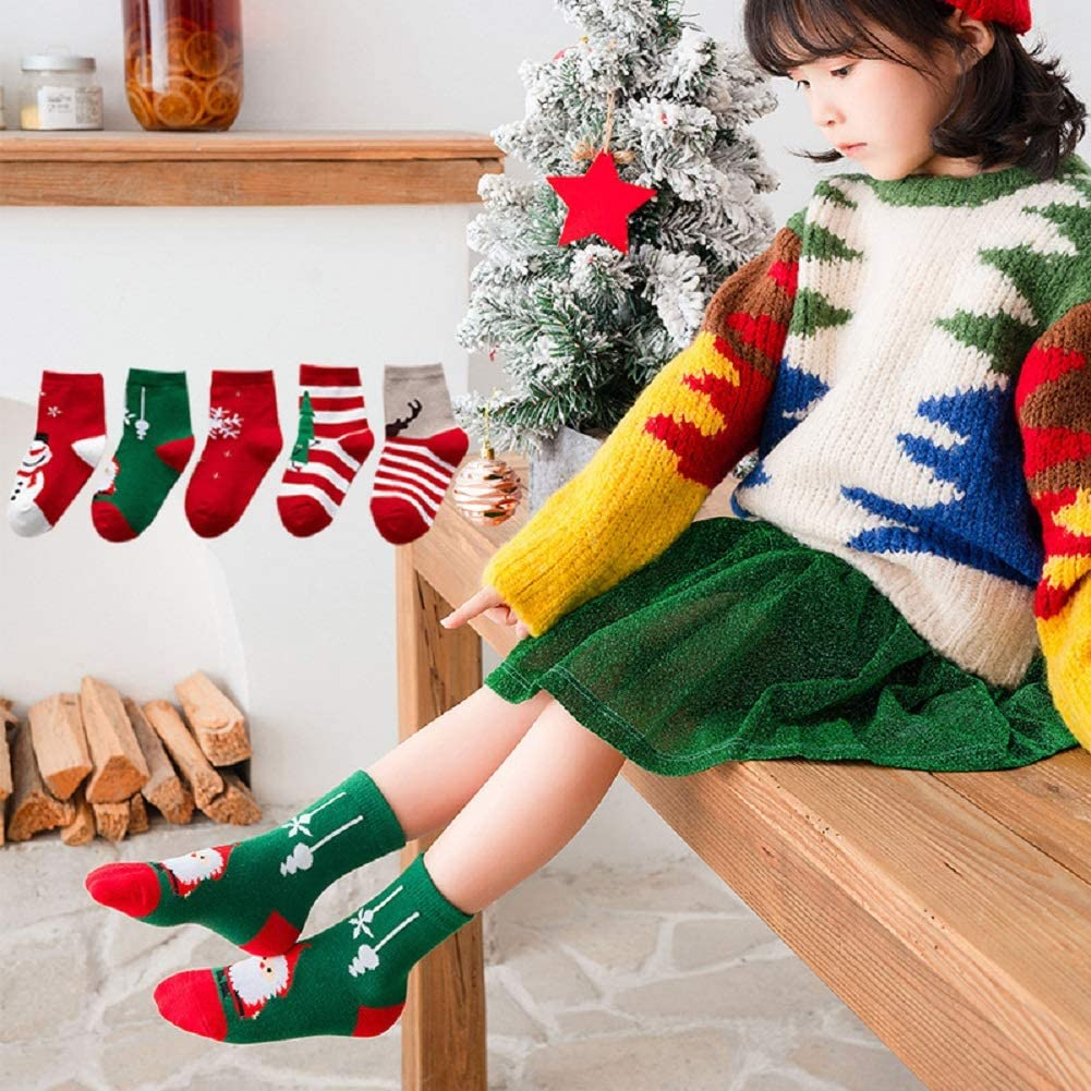 Dejian Pairs of 5 Unisex Baby Toddler Kids Cartoon Christmas Holiday infant Children's cotton Socks