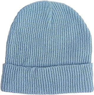 無地 コットン リブ編み ボンボンなし ニット帽 [スカイブルー] レディース メンズ シンプル 帽子 キャップ ハット ビーニー 綿