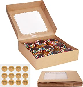 Cake Boxes 10 Inch and Stickers, (12-Pack) Kraft Bakery Box with Viewing Window for Cakes, Cupcakes, Cookies, Donuts, Pastries, and More – 10x10x2.5 Brown Cake Box