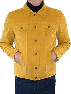 Fuzzdandy Giacca in velluto a coste giallo senape cappotto corto Mod Indie Denim Cord anni '60 '70 Hippie