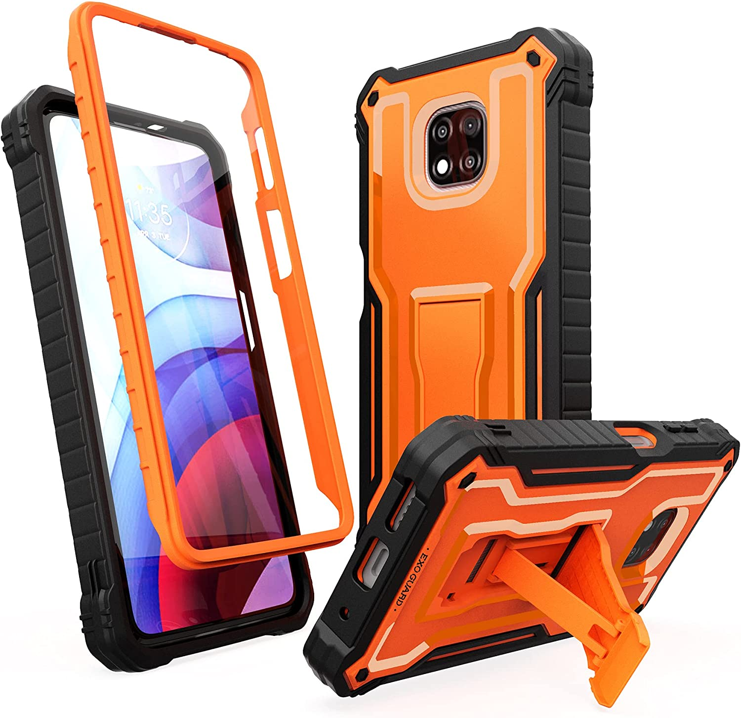 ExoGuard for MotoGPower 2021 Case, Rubber Shockproof Full-Body Cover Case Built-in Screen Protector and Kickstand Compatible with MotoGPower 2021 Phone (Orange)