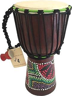 """درام Djembe Bongo Congo Drum Wood Drum - MED SIZE - 12 """"High، JIVE (TM) BRAND، کیفیت برتر حرفه ای با پایه سنگین / شامل زنجیره درام زنگ"""