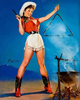 """Magnet 1950`s Elvgren Western Pin-Up Come and Get It Magnet Vinyl Magnetic Sheet for Lockers, Cars, Signs, Refrigerator 5"""""""