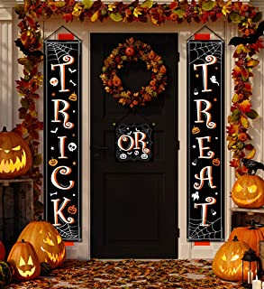 Halloween Banner Hanging Decorations - Trick or Treat Porch Sign Front Door Home Outdoor Party Decor Supplies
