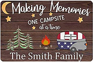 Camper Sign Making Memories One Campsite at a Time RV Decor Personalized Camping Signs for Campers Custom Name Welcome Sig...