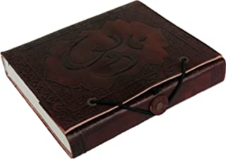 LS Handmade Leather Journal with Embossed OM Look, Vintage Notebook, Diary, Sketchbook, Travel And Thought Blank Book for Writing & Sketching (5 x 6 Inches) - Brown