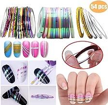 54 PCS Nail Art Striping Tape Lines Kit - 18 PCS Mermaid Candy Color Adhesive Sticker, 30 PCS Mixed Colors Rolls Striping Tape Line, 9 PCS Matte texture Nail Art Striping Tape Line