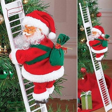 Santa Claus Escalera de Escalada eléctrica, Juguete eléctrico de la Que Sube de Papá Noel,Campanas Musicales eléctricas Escalera de Escalada Juguete ...