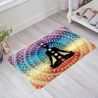 Yoga Doormats Asian Decor Rug Mat-Meditation Aura Ornamental Motive Spiritual Design Print Indoor Outdoor