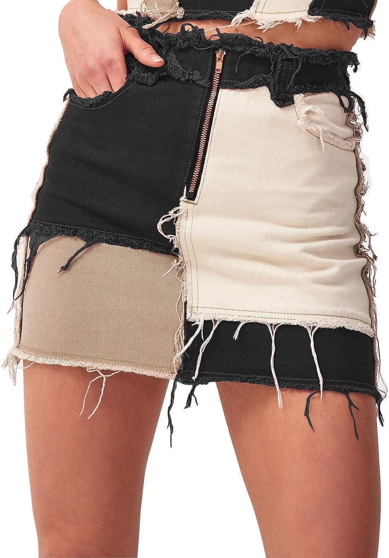 Anbreuinron Women's Mid Waist Color Block Denim Skirts Frayed Raw Hem Fashion Jeans Skirts