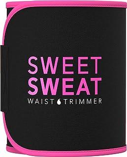 Sweet Sweat Waist Trimmer for Men & Women Black/Pink |Premium Waist Trainer Sauna Suit, Includes Sample of Sweet Sweat Gel!