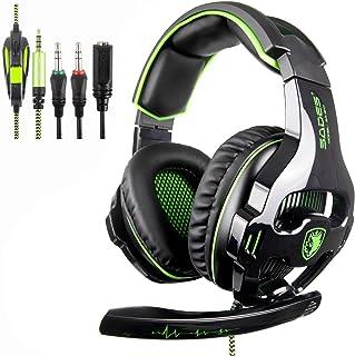 [SADES SA810 Xbox One Mic PS4 Gaming Headset] 3.5 mm con Cable Over Ear Xbox One Auricular con micrófono Deep Bass Auriculares para PS4 Xbox One PC Laptop Mac iPad