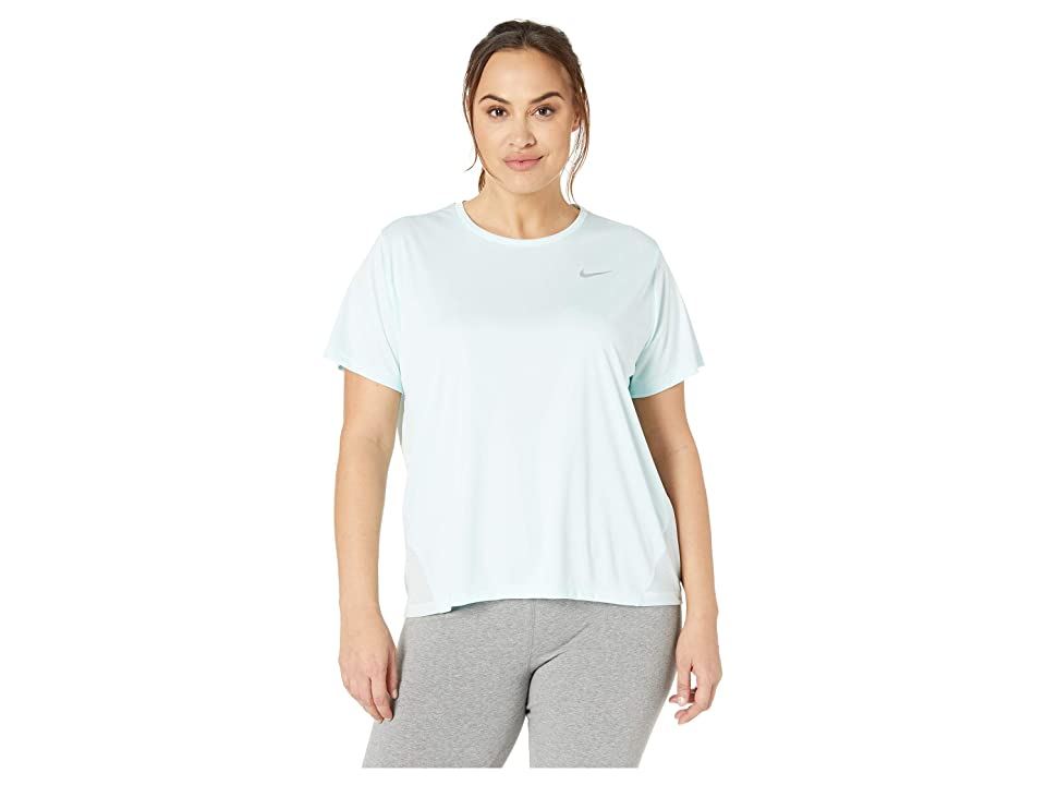 Nike Dry Miler Top Short Sleeve (Size 1X-3X) (Teal Tint/Reflective Silver) Women