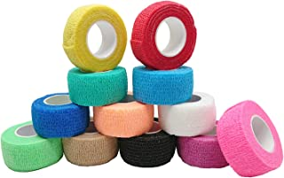 Self-Adhesive Cohesive Wrap Bandage Tape by MANSHU, Self-Adhesive Bandage Rolls,Elastic Non-Woven, 12 Rolls, 12 Colors (1Inches x 5Yards)