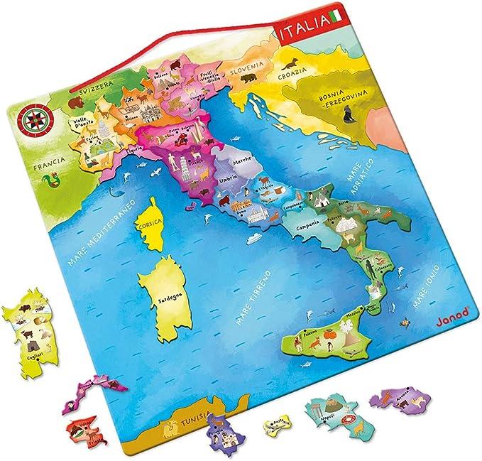 Cartina Nord Italia Con Regioni.Janod Mappa D Italia Magnetica 20 Pezzi Legno 36 X 36 Cm Gioco Educativo Per Bambini Dai 7 Anni In Su J05488 Amazon It Giochi E Giocattoli