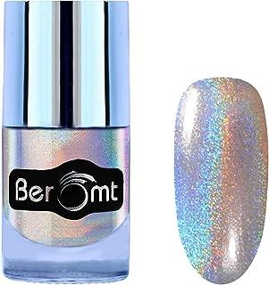 Beromt Holographic Nail Art Polish, Silver Holo Glitter, Holo Shining Lacquer Nail Varnish, 501, 10 ml