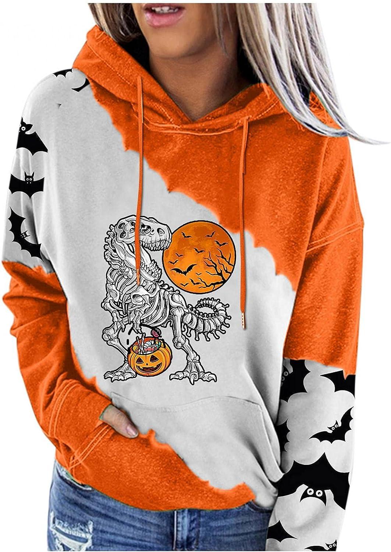 Hoodies for Women,Halloween Costumes for Girls Trendy Bat Pumpkin Graphic Sweatshirts Hoodies Shirt