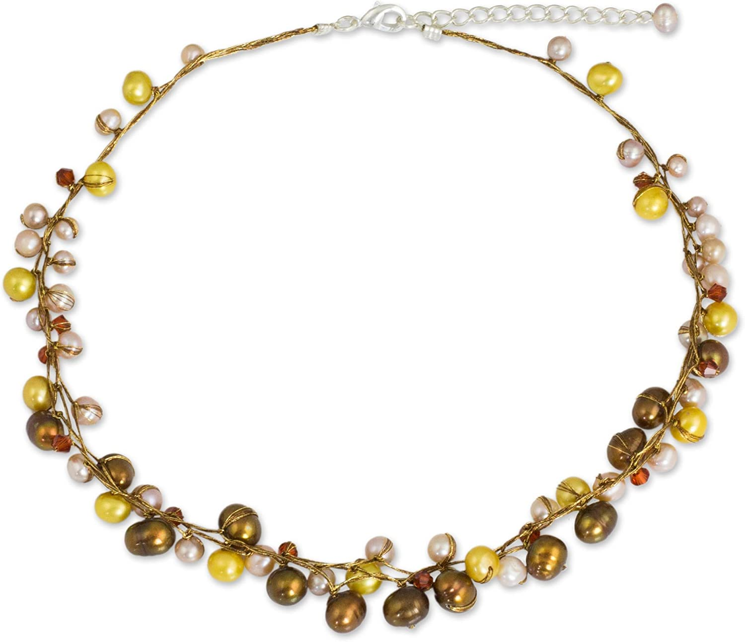 NOVICA Dyed Cultured Freshwater Pearl Strand Necklace with Stainless Steel Extender, River of Gold'
