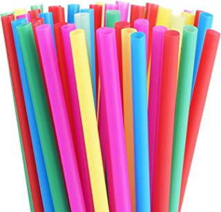8mm Wide Assorted Bright Colors Smoothie Straws, Fat Plastic Milkshakes Straws, Pack of 100 Pieces