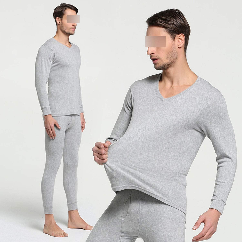 Winter 100% Cotton Round Neck Warm Long Set for Men Ultra Soft Thin Thermal Underwear,V- Black,M