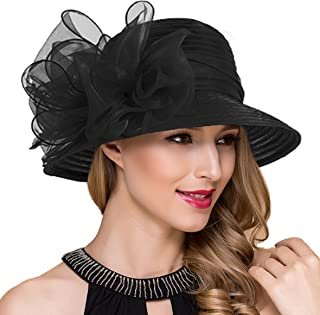 da7a73e17f5c7 Lady Church Derby Dress Cloche Hat Fascinator Floral Tea Party Wedding  Bucket Hat S051