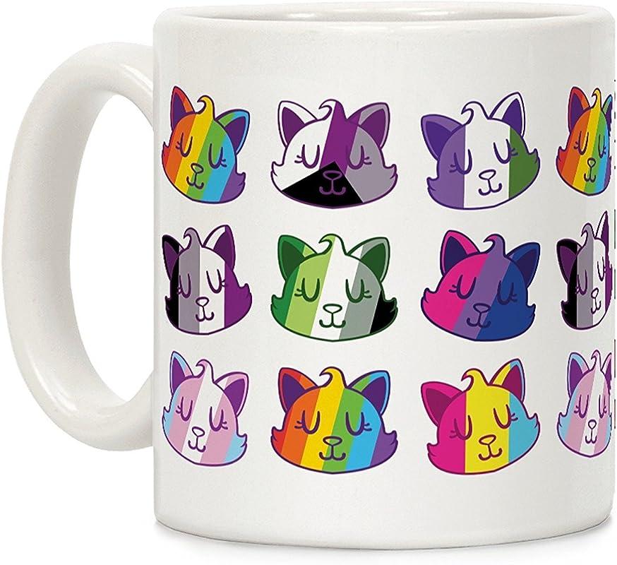 LookHUMAN LGBTQ Cats White 11 Ounce Ceramic Coffee Mug