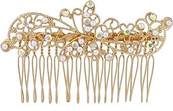 LUX accesorios dorado tono AB Cristal Perlas de imitación de flores pelo peine