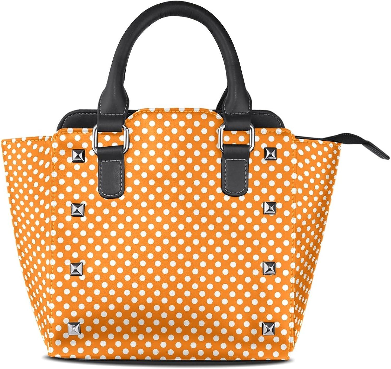 My Little Nest Women's Top Handle Satchel Handbag orange White Polka Dots Ladies PU Leather Shoulder Bag Crossbody Bag