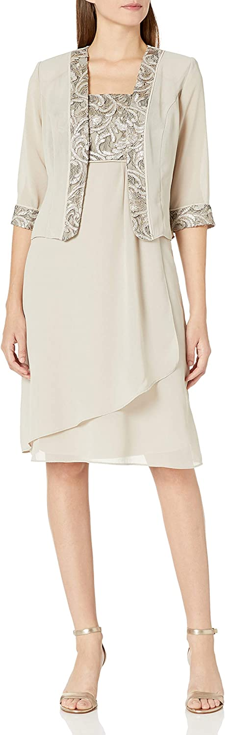 Le Bos Women's Embroidered Trim Asymmetrical Tiered Jacket Dress