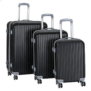 JB Luggage Trolley Travel Bags Set, 3 Pieces - Black