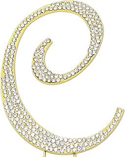 Sparkly Rhinestones Letter C Cake Topper, Birthday Wedding Anniversary Gold Initial C