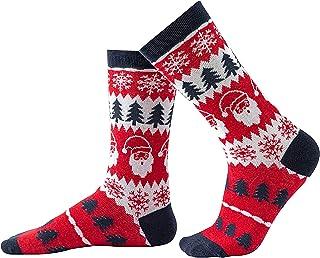 iFCOW, Calcetines de copo de nieve de algodón peinado acogedor cálido calcetines de Navidad padre-hijo señora mujer niña bebé niño árbol de Navidad calcetines 1 par
