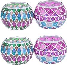 Soimiss Suporte de vela de vidro para mosaico com bola redonda colorida de 4 peças, vintage, salix, folha de pontos, enfei...