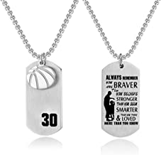 JHoly Basketball Player Pendant Dog Tag Necklace Inspirational Always Remember You are Braver to My Son/Daughter Family Friend Gift