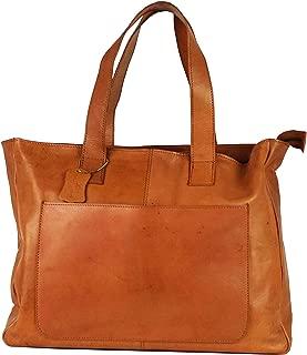 Vintage Leather Women's Tote Handbag Shoulder bag Tan Brown [ Astav]