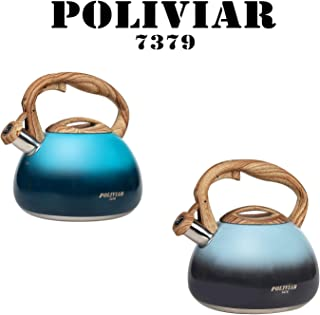 POLIVIAR Tea Kettle, Aqua/Seabed blue Tea Pot Stovetop, 2.7 Quart Loud Whistling Coffee and Teapot, Food Grade Stainless Steel for Anti-Hot Handle and No-Rust, Suitable for All Heat Sources