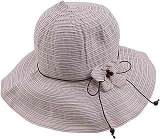 Yinew - Cappello da pescatore a strisce a forma di fiore, pieghevole, accessorio alla moda per le donne, Cotone, rosa, As ...