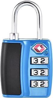 uxcell TSA Approved Luggage Lock 3 Digit Combination Travel Padlock Zinc Alloy 60x31x11mm Blue