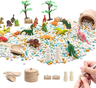 Dinosaur Sensory Bin Kits Set 1 Bag of Play Sand and 31pcs Tools Includes Pot Spoons Dinosaur Figures Dolls Trees Fences S...