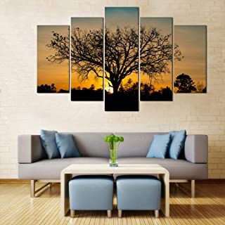 WENS Velvet Laminated Sun Rise Tree Reflection 5 Panels Framed Wall Art (24x40 Inch)