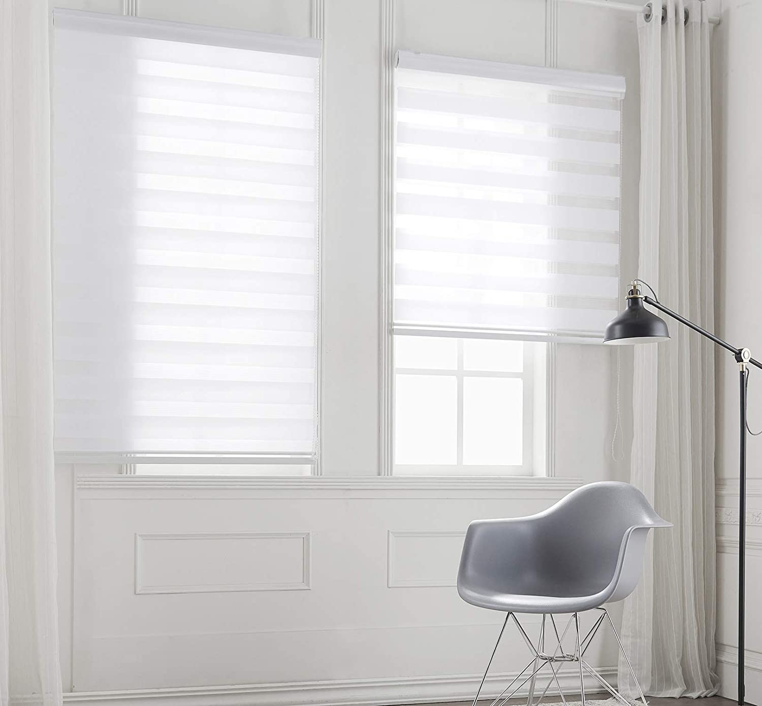 Taiyuhomes Day and Night Zebra Roller Blind Double Fabric Translucent or Blackout Vision Curtains for Window and Door with Aluminium Cassette(White 95x150) White 95x150cm(WxH)