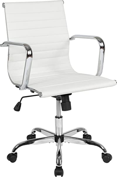 Flash Furniture Mid Back White LeatherSoft Mid Century Modern Ribbed Swivel Office Chair With Spring Tilt Control And Arms