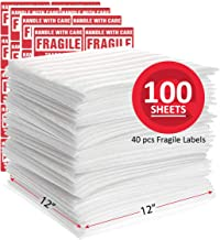 """Enko 12"""" x 12"""" (100-Pack) Foam Wrap Sheets Protect Glasses, China, Dishes for Moving Shipping Packing & Storing with 40Pcs of Fragile Labels"""