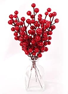 Larksilk Red Berry Stem Picks - 24-Pack Decorative Wire Stem Branch Sprays for Christmas Tree, Wreath Decoration, Xmas Holiday Décor, Silk Flower Arrangements